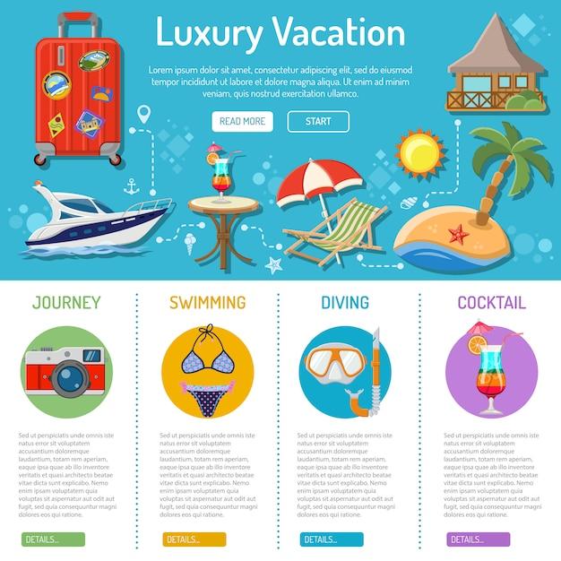 Отпуск и туризм инфографика Premium векторы