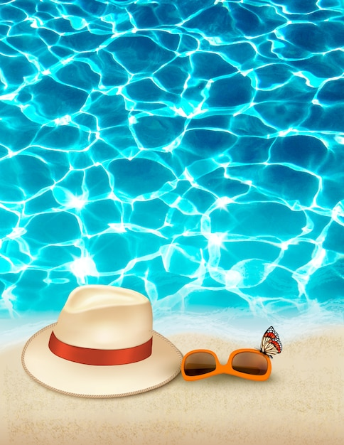 Отпуск фон с синим морем, шляпу и солнцезащитные очки. , Premium векторы