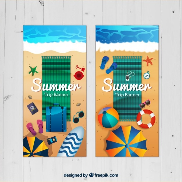 Vacation banners with beach towel and\ elements