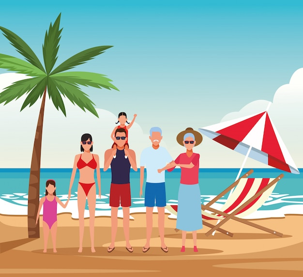Vacation on the beach family Premium Vector