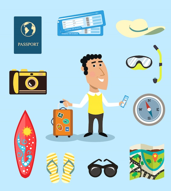 Vacation or business traveler character set Free Vector