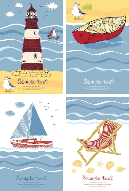 Vacation cards Free Vector