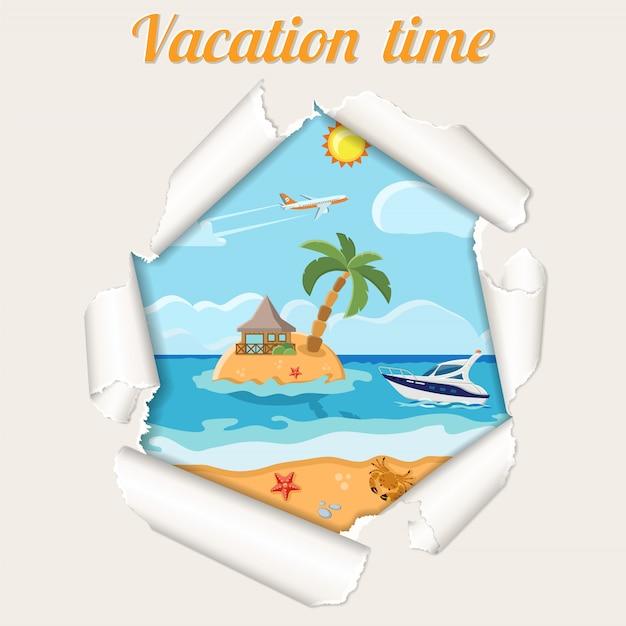 紙の破れた穴を通って休暇の概念島 Premiumベクター