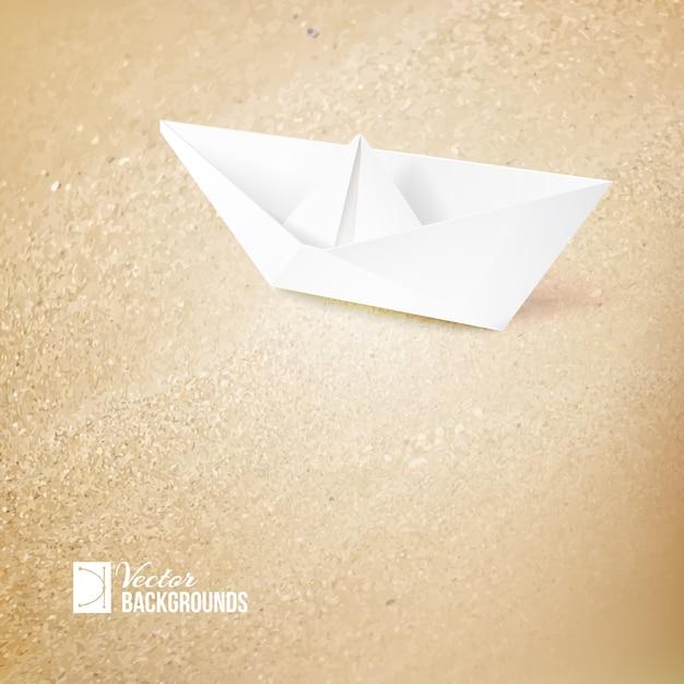 Иллюстрация круиза с бумажным кораблем Бесплатные векторы