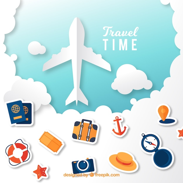 Vacation elements background with plane