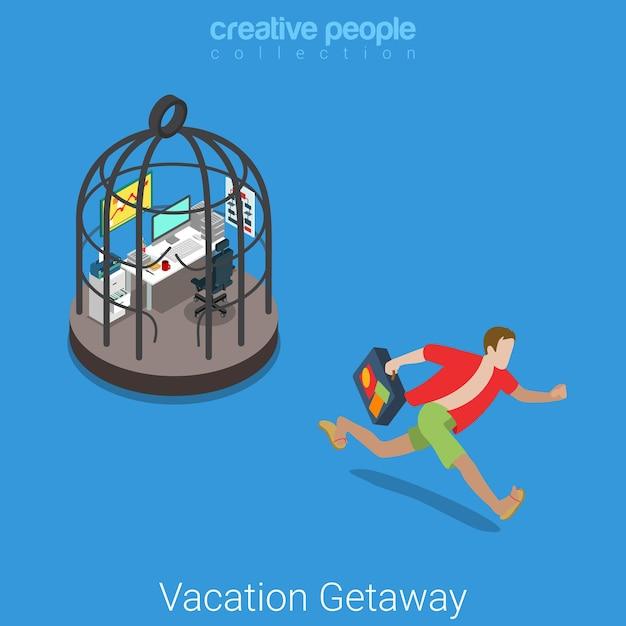 Отпуск квартира изометрические тяжелая работа праздник концепция повседневная пляжная одежда молодой человек убегает с рабочего места в стальной клетке. Бесплатные векторы