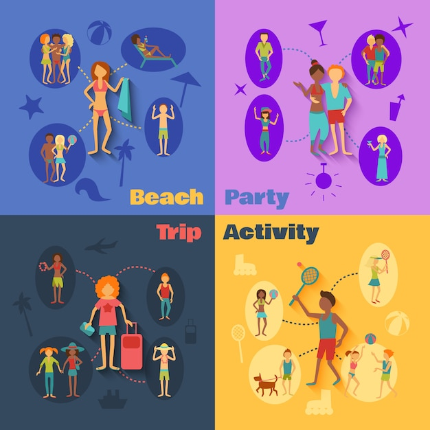 Vacation people set Free Vector