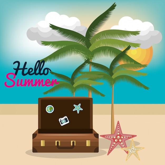 Vacation summer besch travel Premium Vector