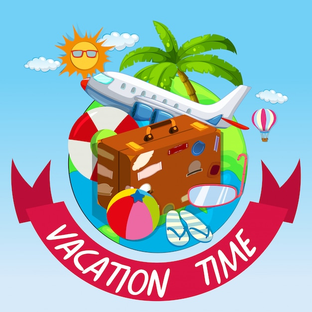 Vacation time with bag and airplane Free Vector