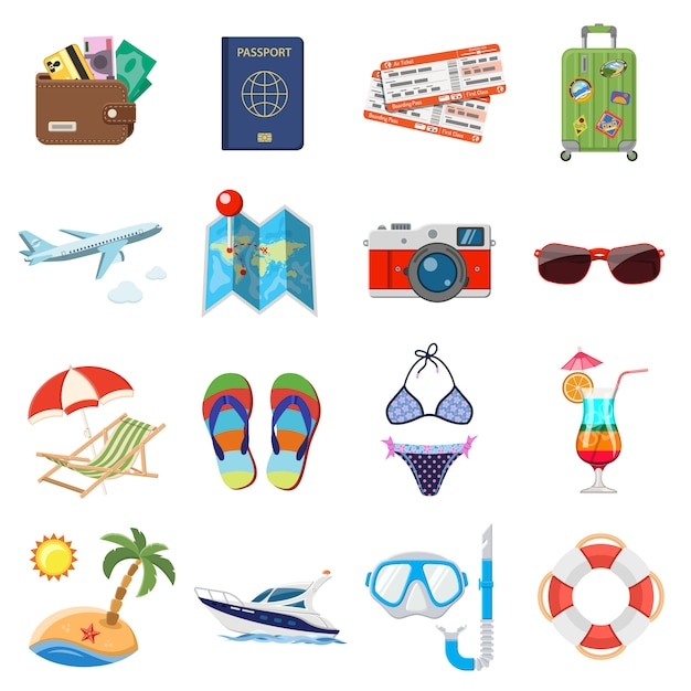 Vacation and tourism flat icons set Premium Vector