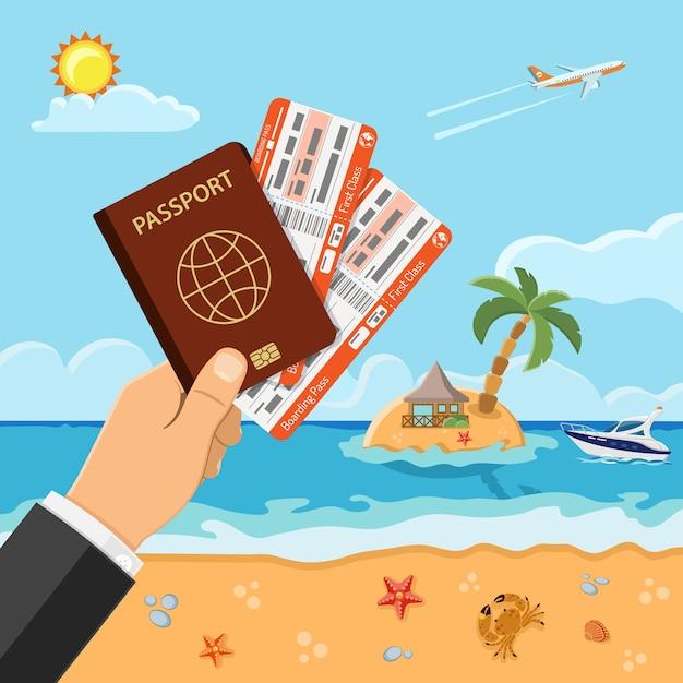 Отдых, туризм, летняя концепция с плоскими иконками для веб-сайта, реклама, как рука с паспортом и билеты на самолет, пляж, остров, бунгало и пальмы, лодка. Premium векторы