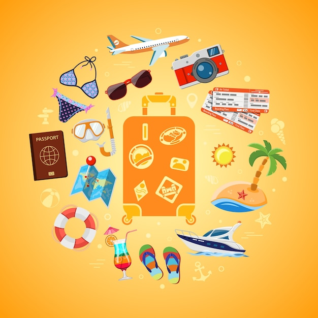Vacation, tourism, travel and summer concept with flat icons for web site, advertising like suitcase with passport, map, boat, camera and diving mask. isolated Premium Vector