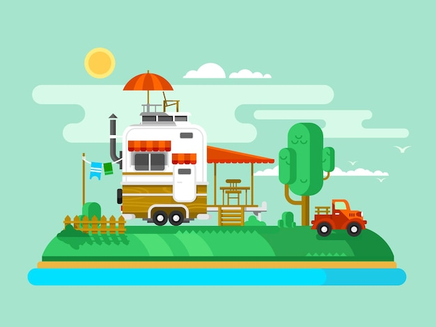 Vacation trailer. trip and tourism, outdoor design flat, camping adventure and leisure, flat  illustration Premium Vector