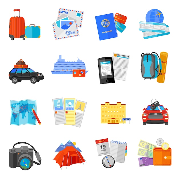 Vacation travel flat icons collection Free Vector