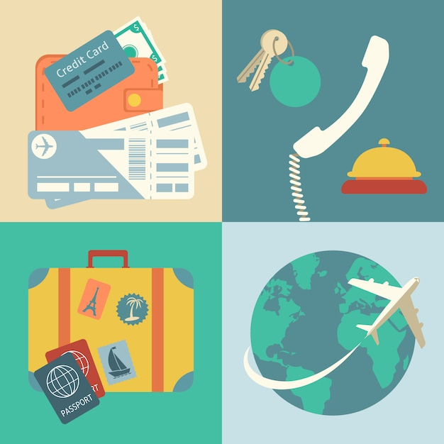 Vacation travel icons set Free Vector