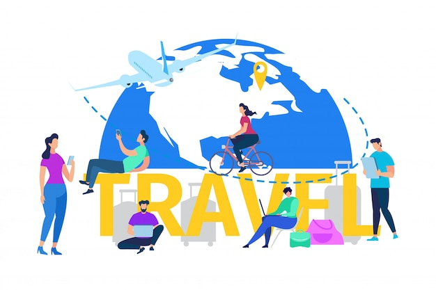 Vacation travel or journey flat vector concept Premium Vector
