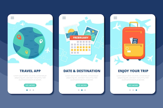 Vacation travel onboarding app screens Free Vector
