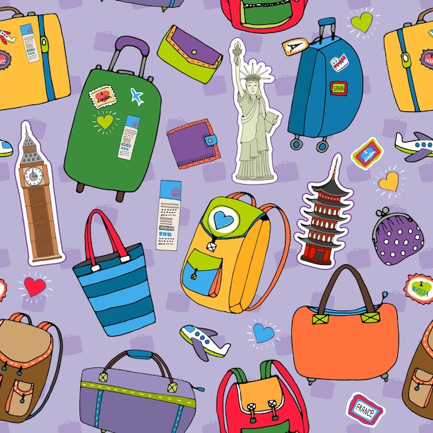 Vacation or travel seamless pattern vector with a variety of suitcases  backpacks and luggage  tourist landmarks including big ben  statue of liberty and japan  purses and wallets on purple Free Vector