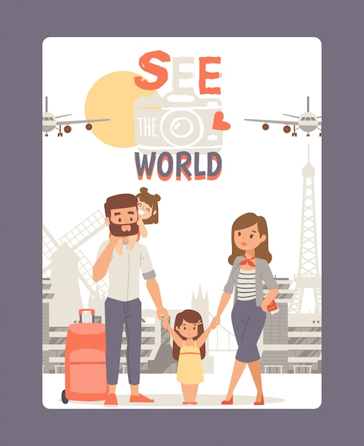 Vacation with family, see world poster  illustration. travel tour at europe, city landmark background. young couple with kid Premium Vector