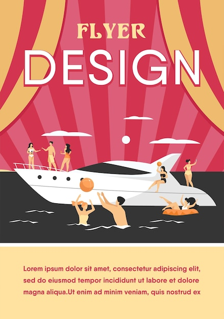 Vacation on yacht concept Free Vector