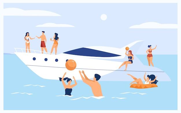 Vacanze sul concetto di yacht Vettore gratuito