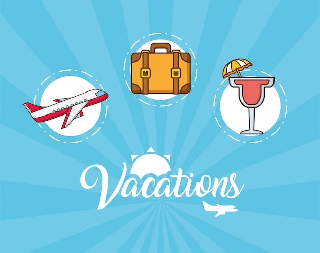 Vacations elements Free Vector