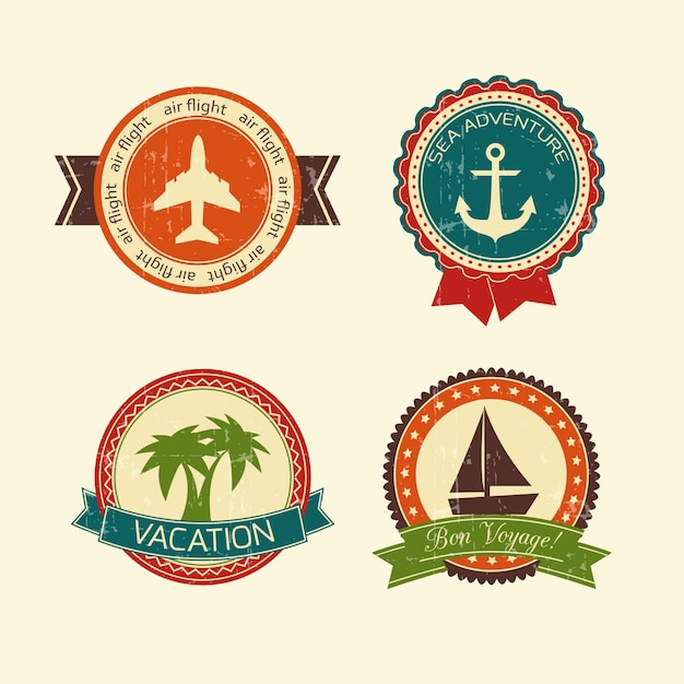 Vacations travel badges collection of yacht\ boat plane palm tree and anchor isolated vector illustration