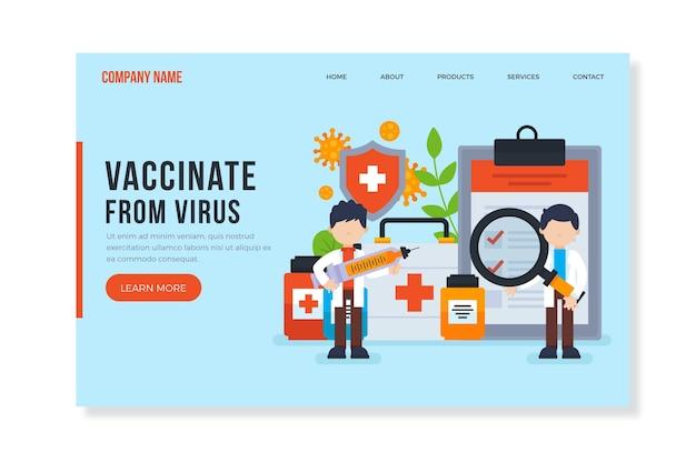 Вакцинация с вирусной целевой страницы Бесплатные векторы