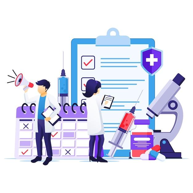 Концепция вакцинации, лекарство от вируса короны, время вакцинации, врачи со шприцем, иллюстрация флакона с вакциной Premium векторы