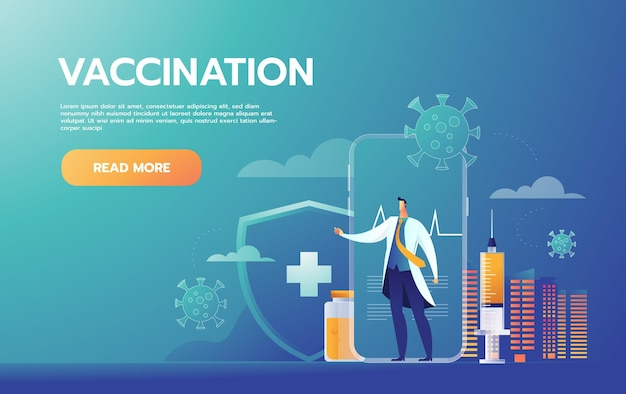 予防接種の概念。予防接種キャンペーン。 無料ベクター