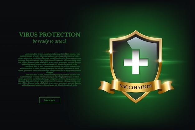Концепция дизайна вакцинации с текстом щита и защиты от вирусов. Premium векторы