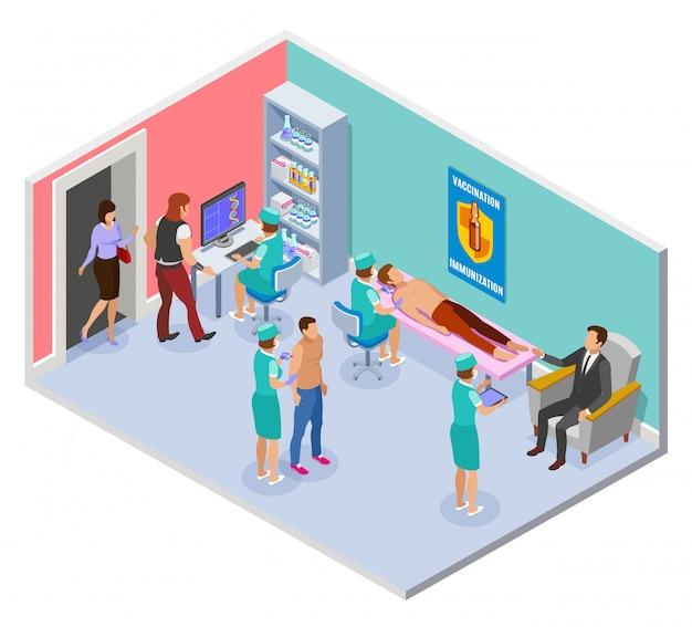 Composizione isometrica della vaccinazione con vista della stanza d'ospedale con elementi interni e operatori sanitari che somministrano iniezioni Vettore gratuito