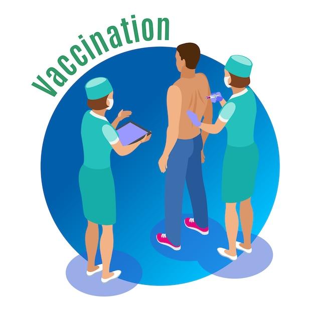 Illustrazione isometrica di vaccinazione con caratteri umani di assistenti medici che danno jab al paziente maschio con testo Vettore gratuito