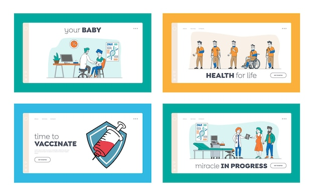 Vaccination, pregnancy ultrasound, injured patient in hospital landing page template set. male and female characters visiting clinic for medical procedures, check up. linear people Premium Vector