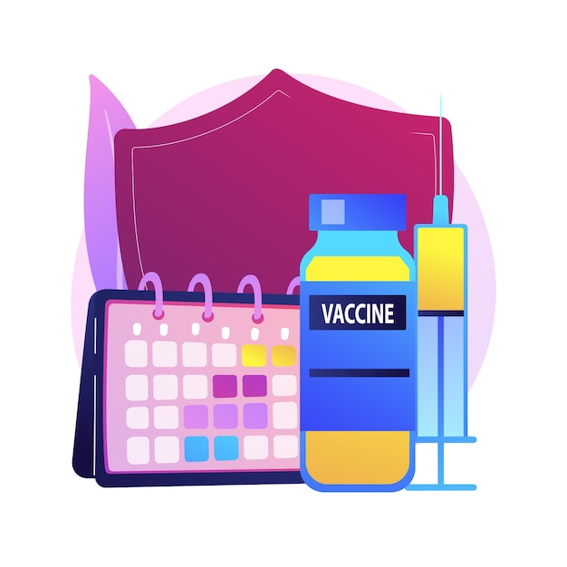 Illustrazione di concetto astratto di programma di vaccinazione. informazioni sulla vaccinazione, programma di immunizzazione, prevenzione delle malattie infettive, vaccino, protezione della salute, metafora astratta della sanità pubblica. Vettore gratuito
