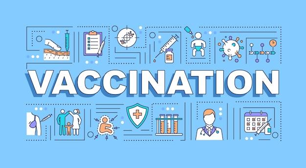 Баннер концепции слова вакцинация Premium векторы