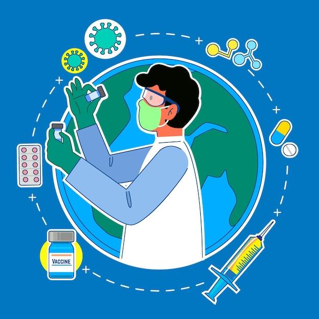 ワクチン開発コンセプト 無料ベクター