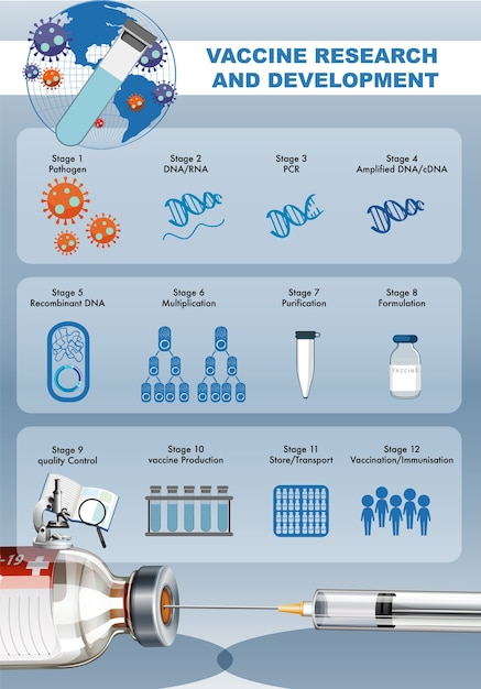 Ricerca e sviluppo di vaccini per poster o banner covid-19 o coronavirus con siringa medica con ago Vettore gratuito