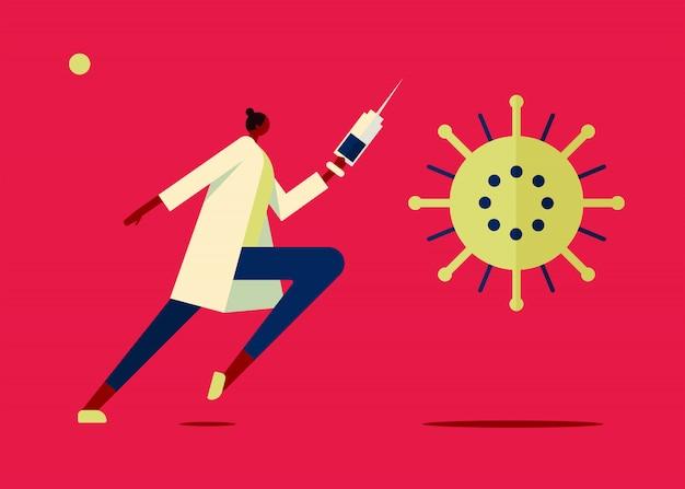 Vaccine virus illustration Free Vector