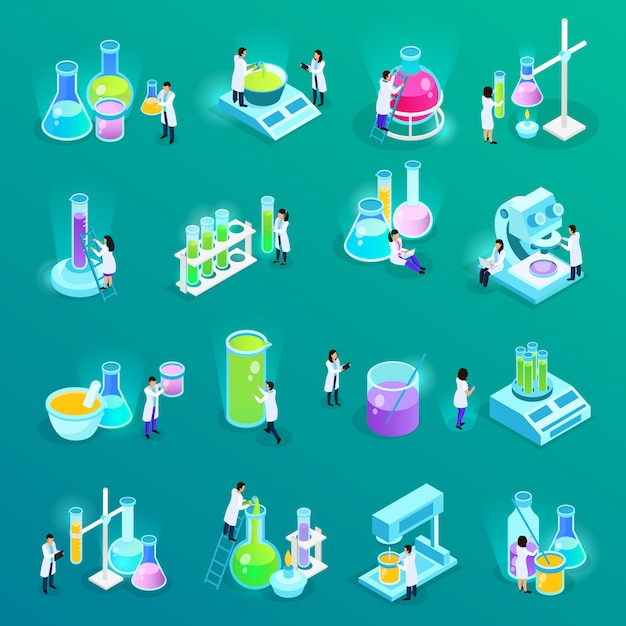 Vaccines development set of isometric icons with scientists and lab equipment isolated on green Free Vector