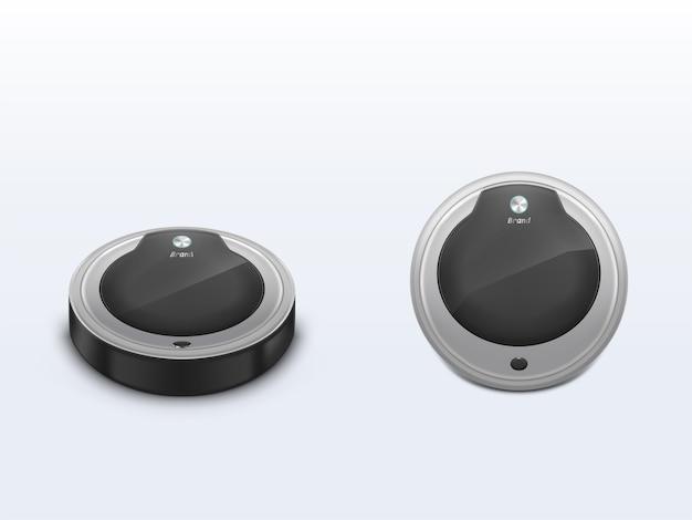Vacuum cleaner robot front, top view 3d realistic vector Free Vector