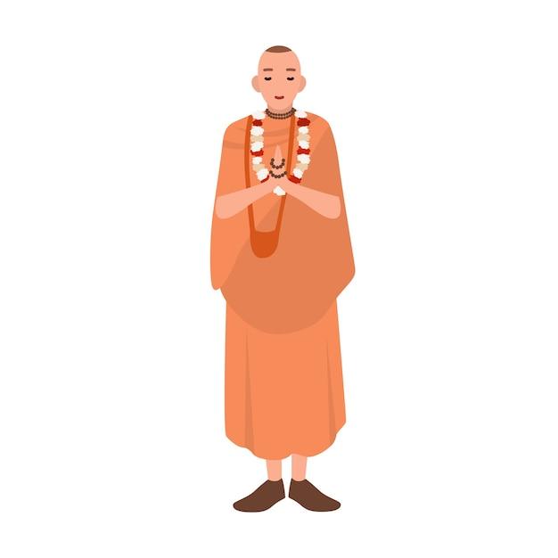 Vaishnavまたはkrishnaitは立ち、祈る伝統的な服を着ています。聖職者、聖職者または宗教指導者 Premiumベクター