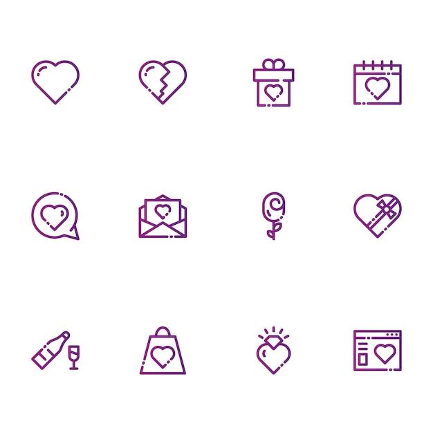 バレンタインと愛のアイコン Premiumベクター