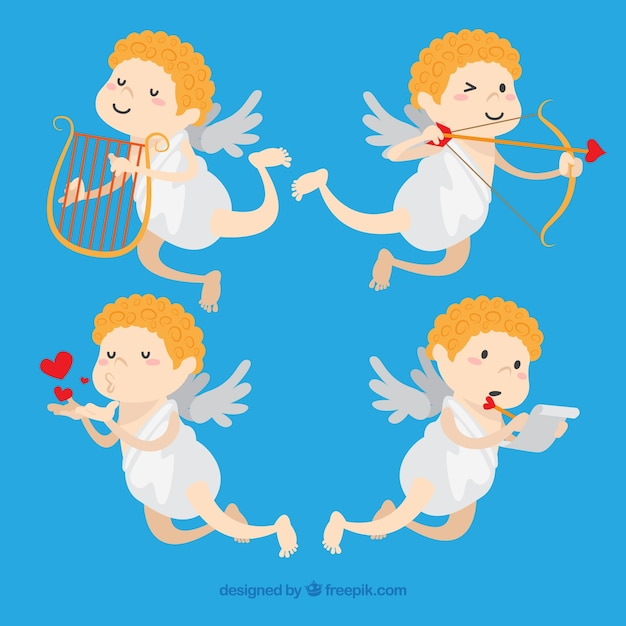 Valentine Angel Collection Free Vector