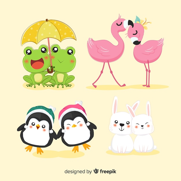 Valentine animal couple collection Free Vector