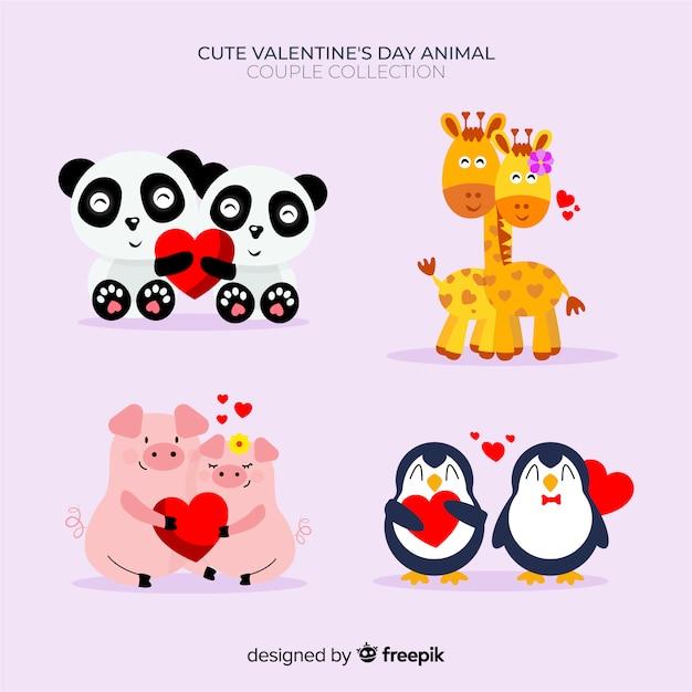 Valentine animal couple pack Free Vector