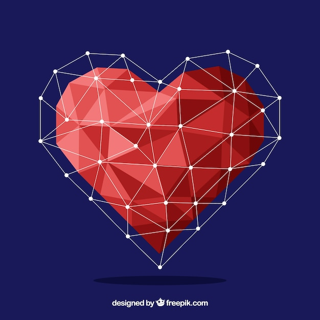 Valentine background with geometric heart Free Vector