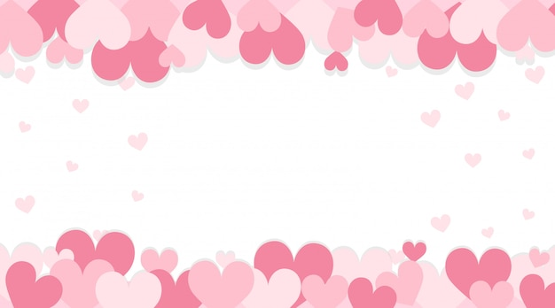 Valentine background with pink hearts Free Vector