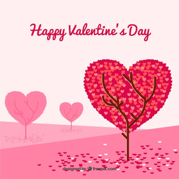 Valentine background with tree Free Vector