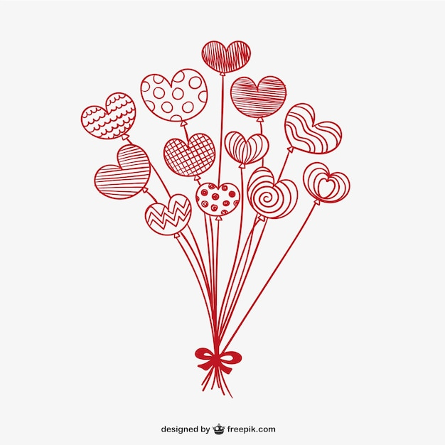 Valentine Balloon Hearts Vector Free Download